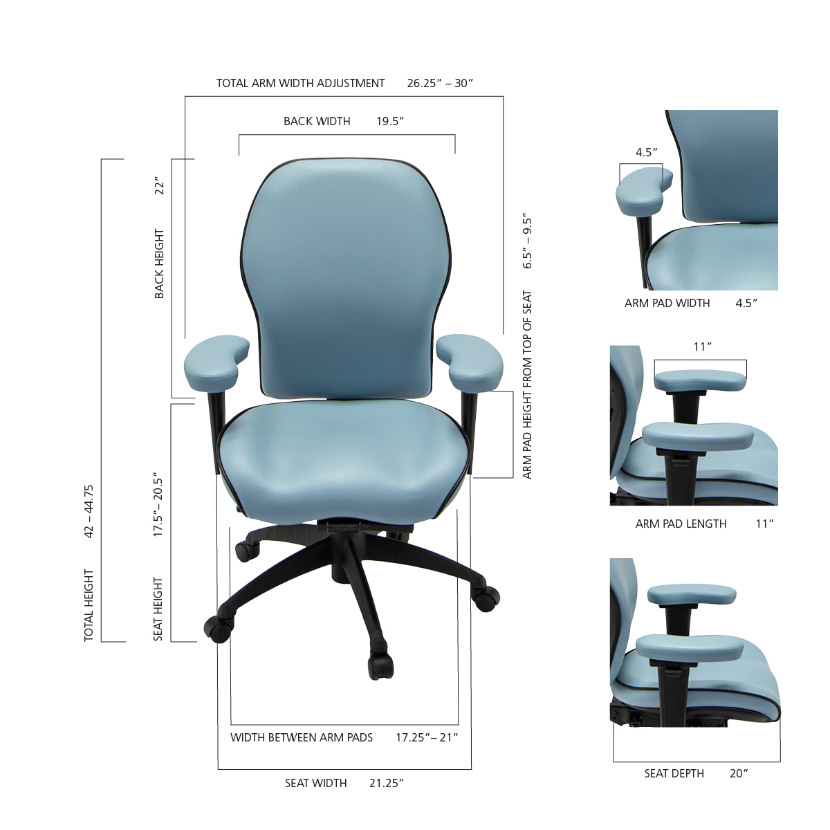 Size Guide for LIFEFORM Chairs
