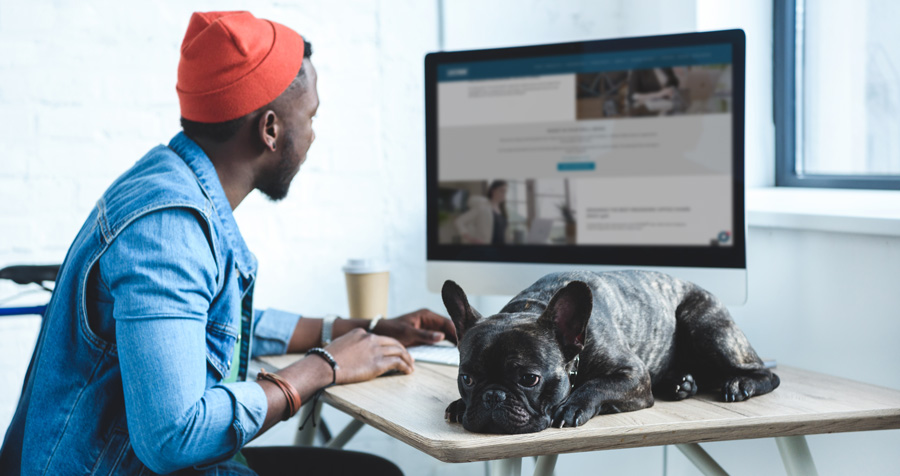LIFEFORM man and dog sitting at computer